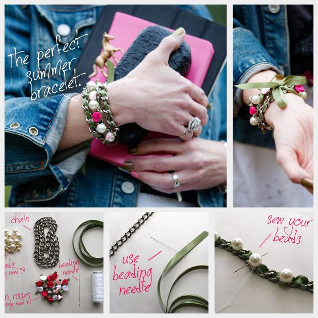 DIY: ribbon and chain bracelet