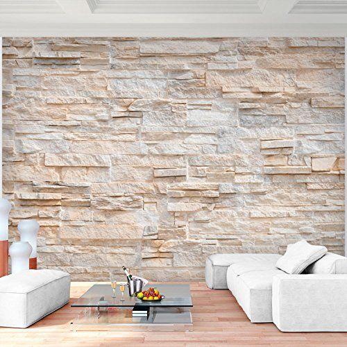 Fototapete Steinwand 3D Effekt 396 x 280 cm Vlies Wand Tapete - moderne tapeten wohnzimmer