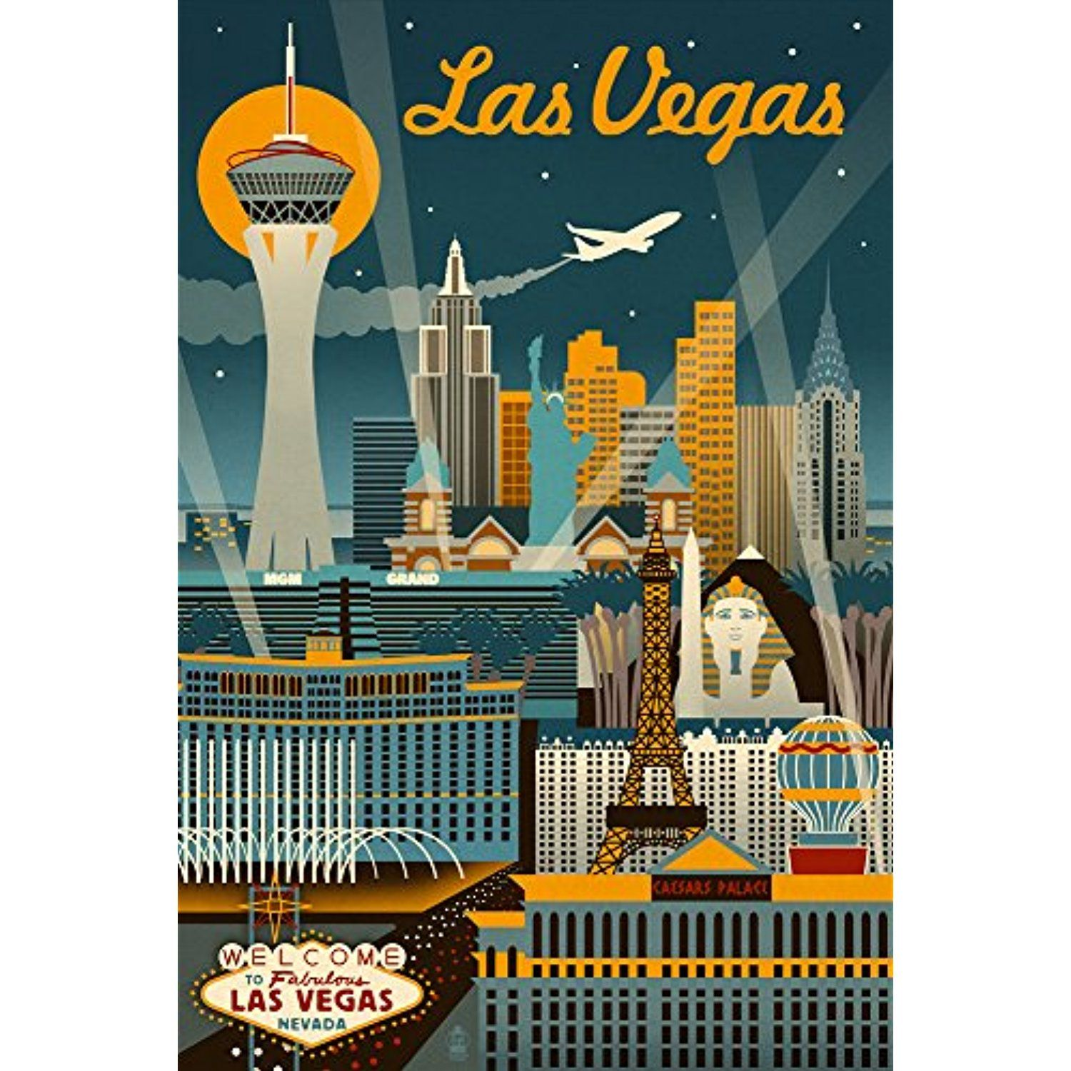 Las Vegas Nevada Retro Skyline 12x18 Signed Print Master Art Print W Certificate Of Authenticity Wall Decor Trav Las Vegas Travel Posters Vintage Travel