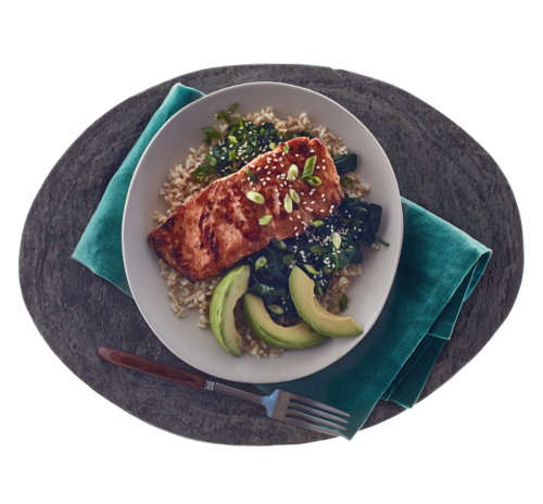 Asian Inspired Salmon  Avocado Rice Bowl  Salmon Avocado -9393