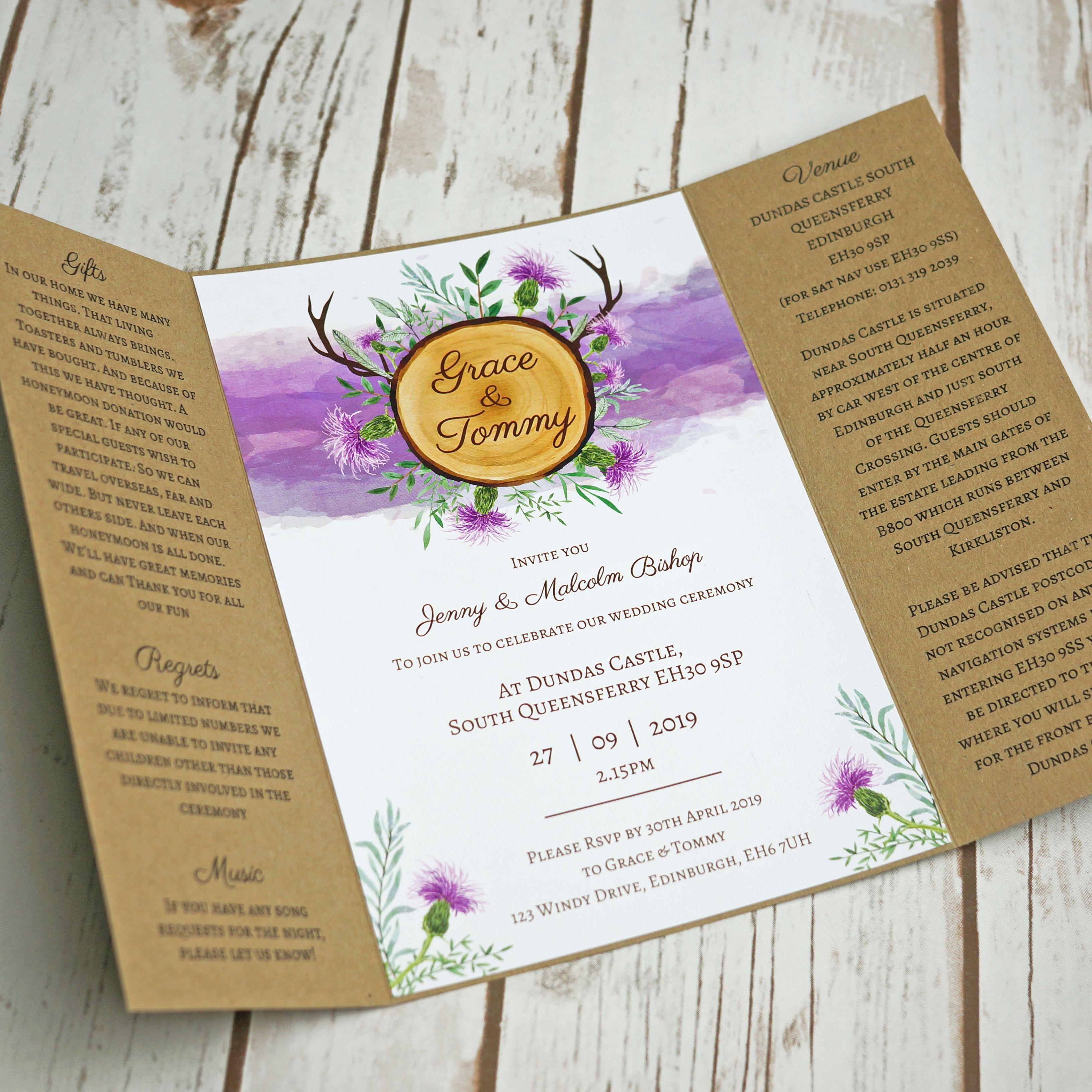 Rustic Door Wedding Ideas: Scottish Rustic Gatefold Wedding Invitations