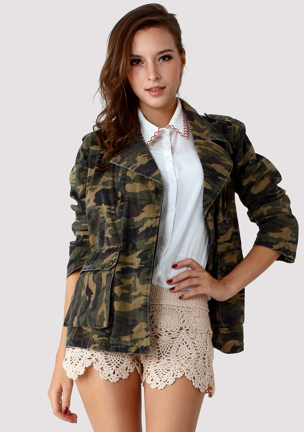 #chicwish Camouflage Military Jacket by Chic