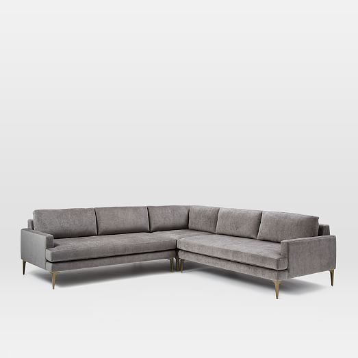 Andes 3 Piece L Shaped Sectional Modern Sofa Sectional