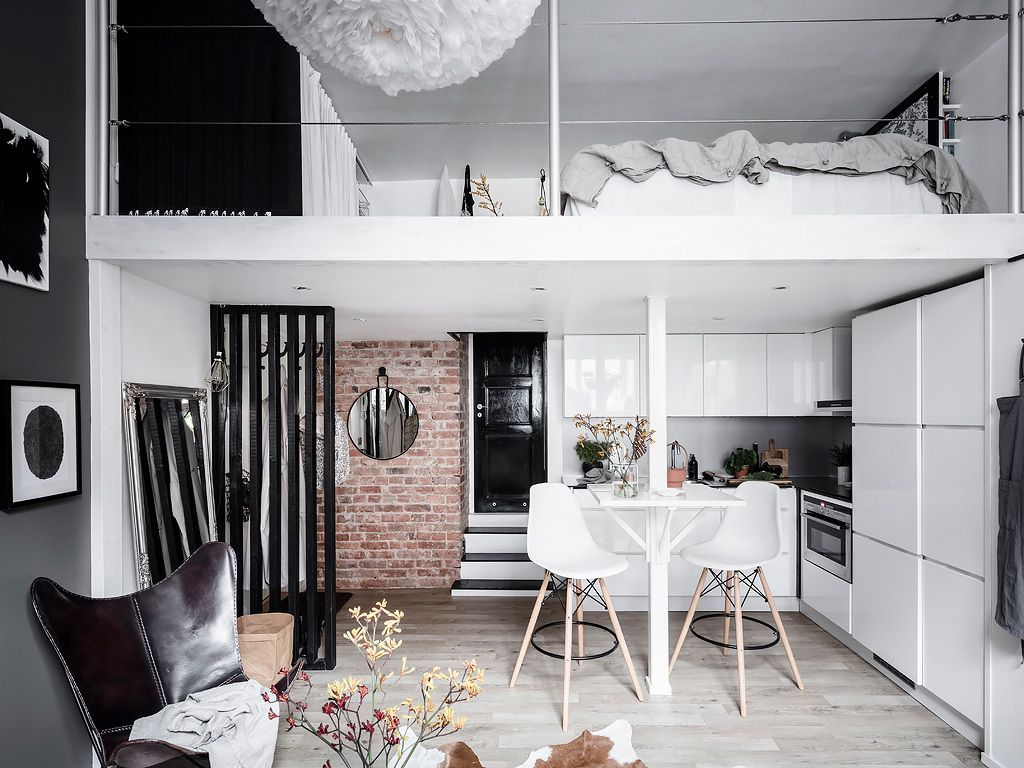 A Tiny Scandinavian Loft Apartment Small Loft Apartments Loft