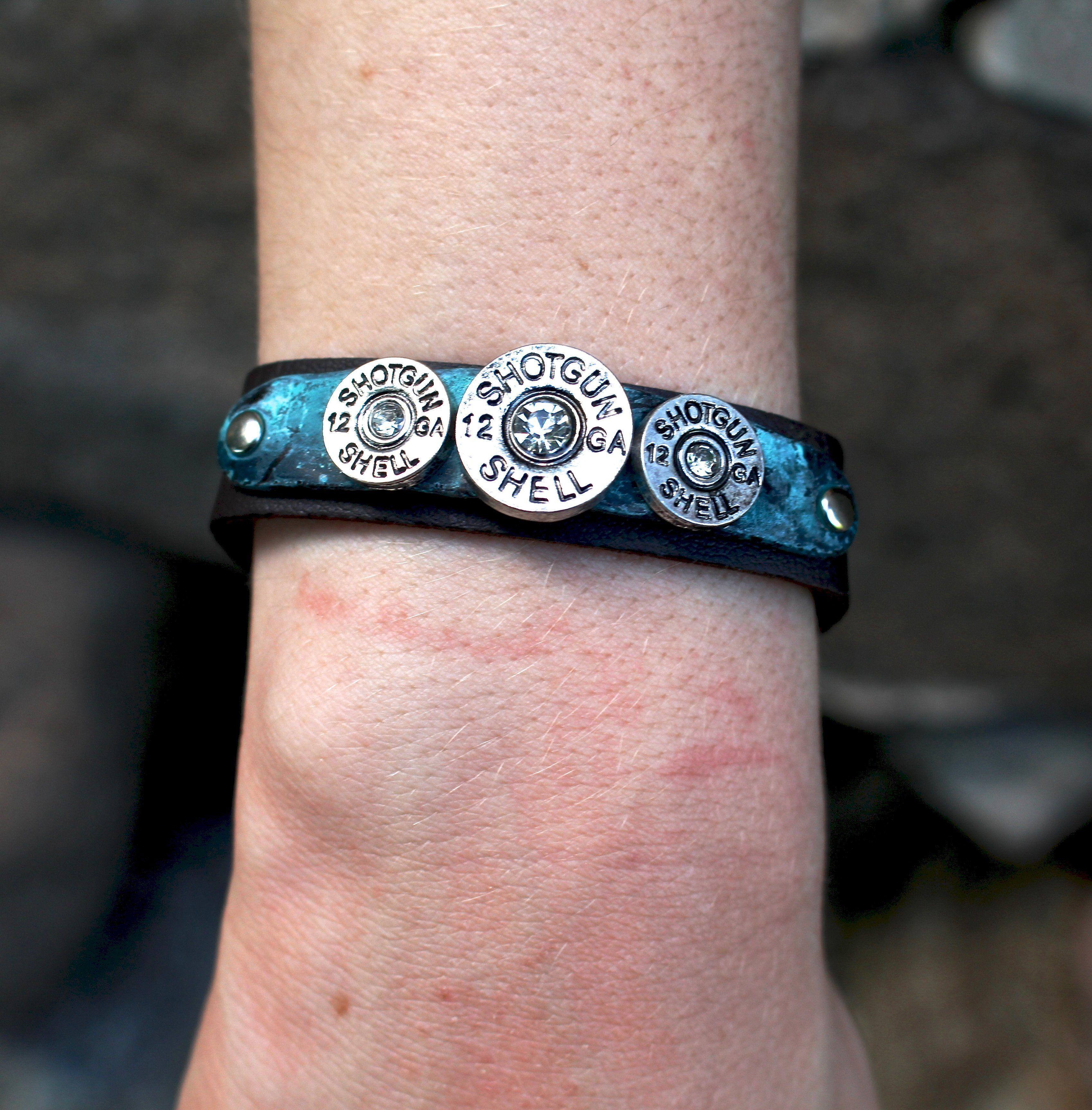 Blinged Shell Faux Leather Bracelet - Turquoise