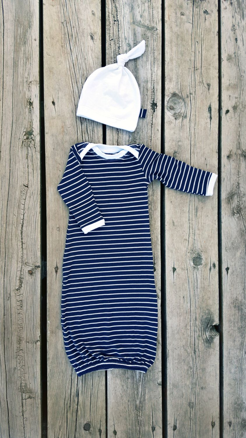 Classic Navy/White Striped Newborn Gown, Bamboo Knit, Baby Boy, Baby ...