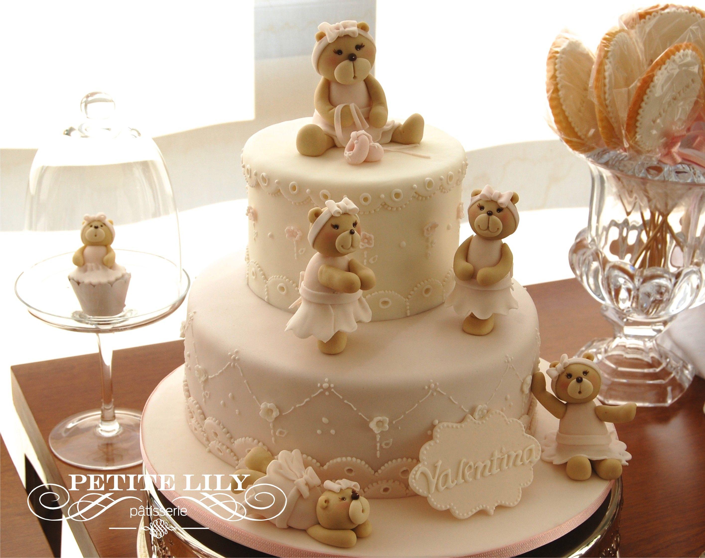 Ballerina Teddy Bear Cake For A Delicate Baby Shower