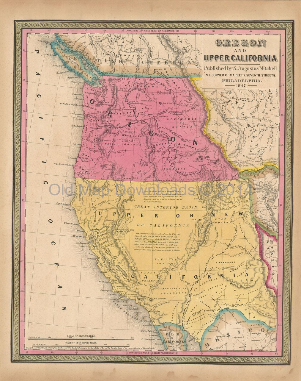 Oregon Upper California Old Map Mitchell 1847 Digital Image Scan