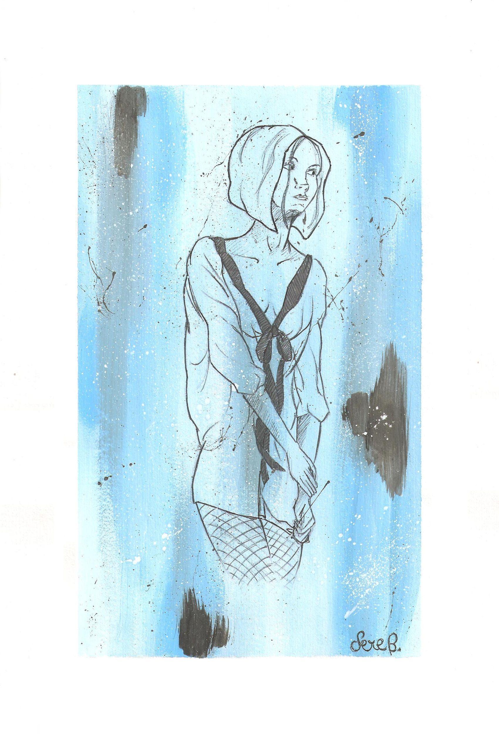 una donna su sfondo azzurro e nero