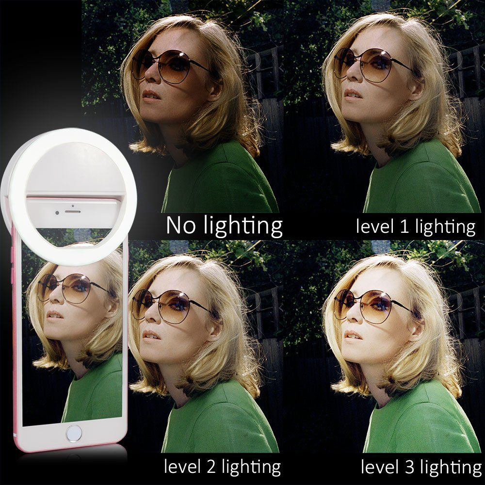 Amazon.com: LONGKO 36 LED Selfie Ring Light Bulb Clip 3 Mode Illuminated Spotlight Night Lamp for iPhone 6/6S Android Cellphone iPad Tablet: Cell Phones & Accessories