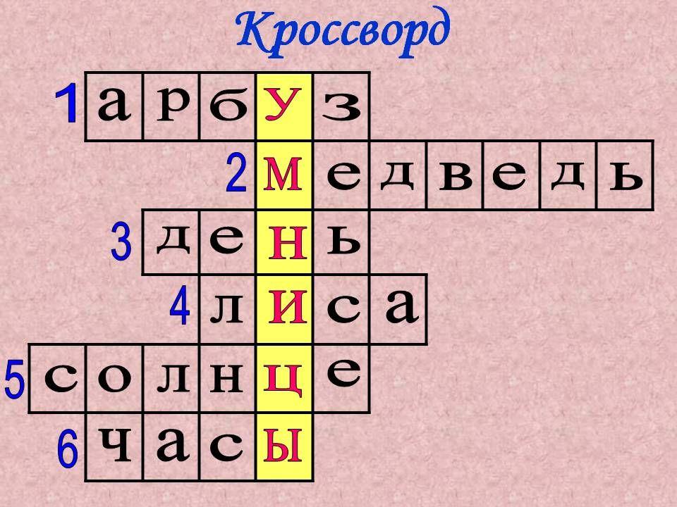 Кроссвордпо русскому языку 5 класс