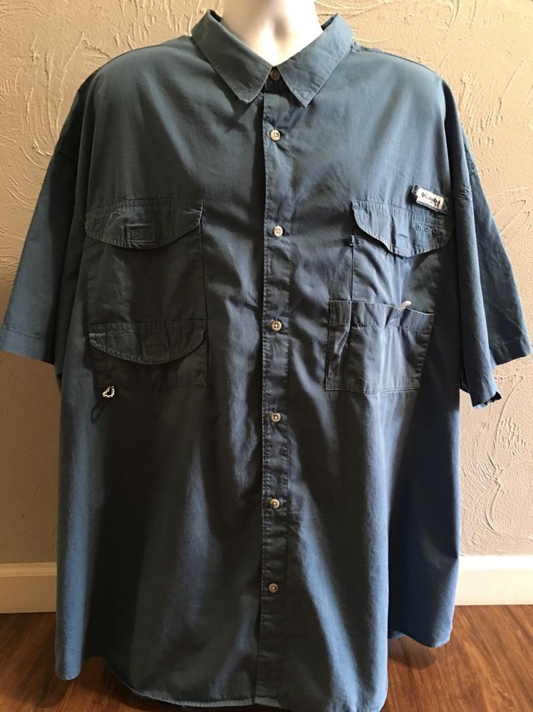 6c07597a3d2 PFG Columbia Men's s s Shirt 5XL Blue Vented Fishing Mesh Omni Shade Big  Tall | eBay