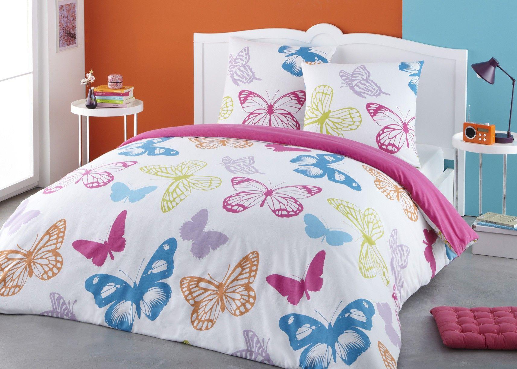 parure housse de couette flanelle 100 coton papillons. Black Bedroom Furniture Sets. Home Design Ideas