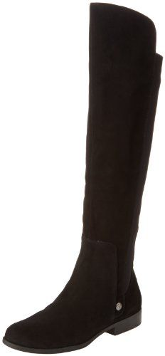 AK Anne Klein Women's Citygurl Suede Riding Boot,Black Suede,8 M US Anne