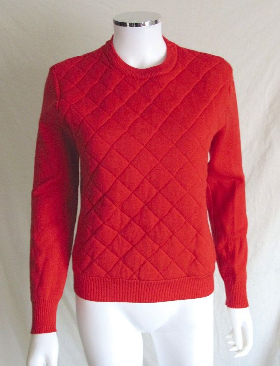 Vintage 80s CEVAS Ski Sweater Quilted Front Solid by JaxFlashBax, $22.00