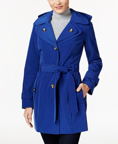 London Fog Hooded Layered-Collar Trench Coat