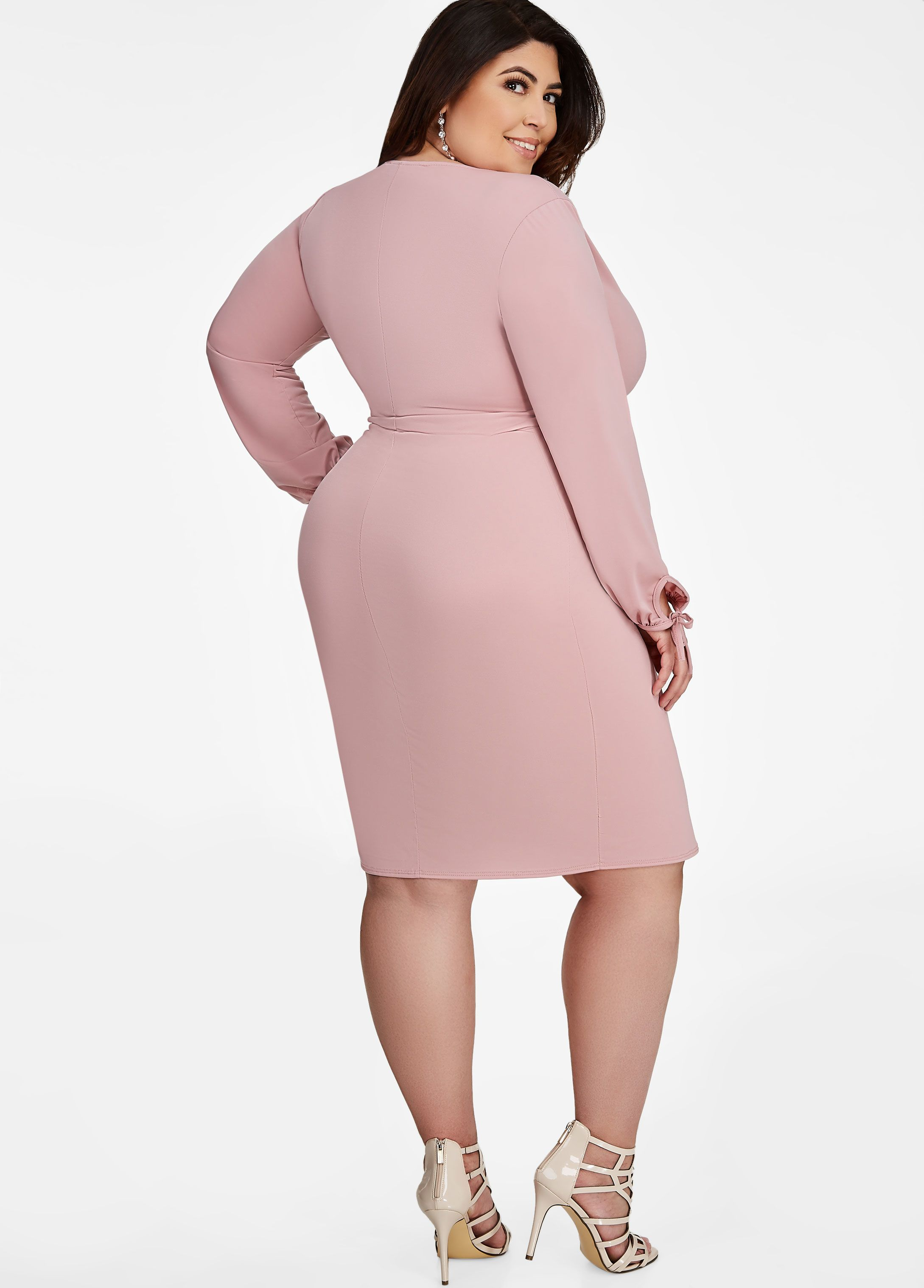 98cc0c4ce27 Tie Sleeve Surplice Dress - Ashley Stewart