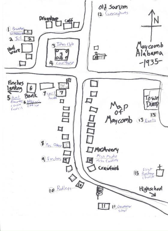 To Kill A Mockingbird Map Of Maycomb : mockingbird, maycomb, Maycomb, Mockingbird,, Life,, Teaching, School