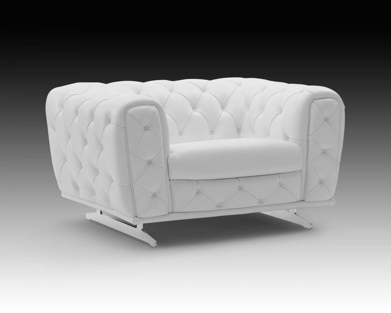 Ellie Modern Chair, White  Creative Furniture  White leather