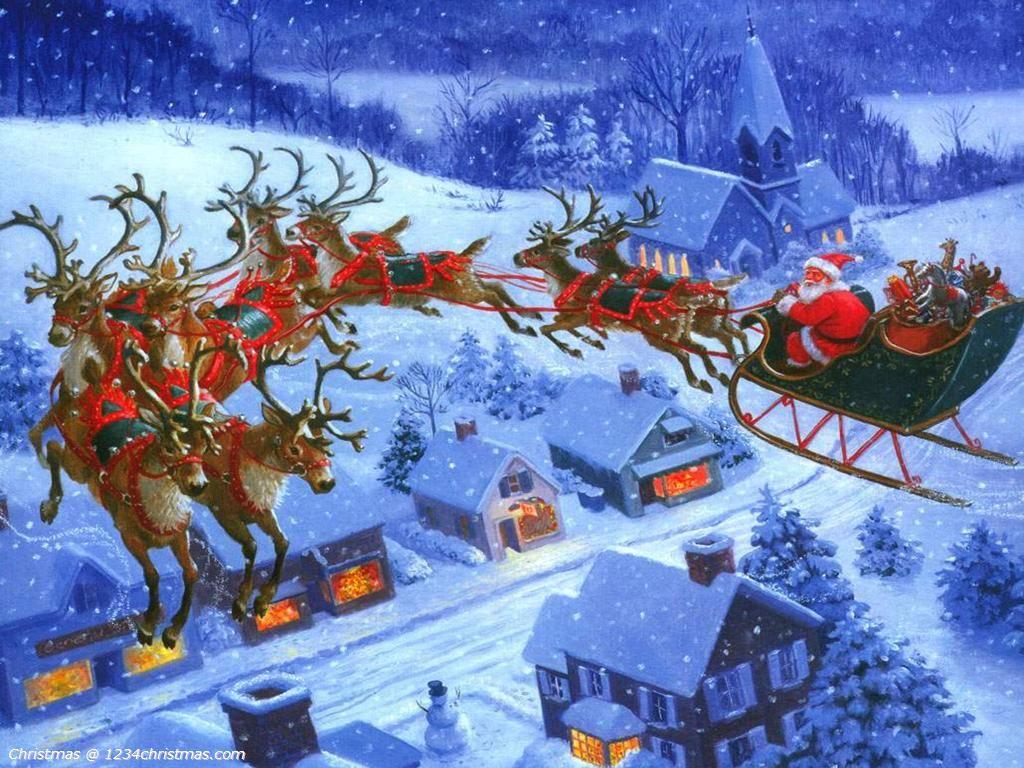 Santa Claus Flying Reindeer Desktop Wallpaper Christmas Scenes Santa And Reindeer Vintage Christmas Cards