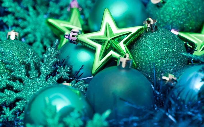Sfondi Natalizi 4k.Download Wallpapers Green Christmas Balls 4k Christmas Decorations