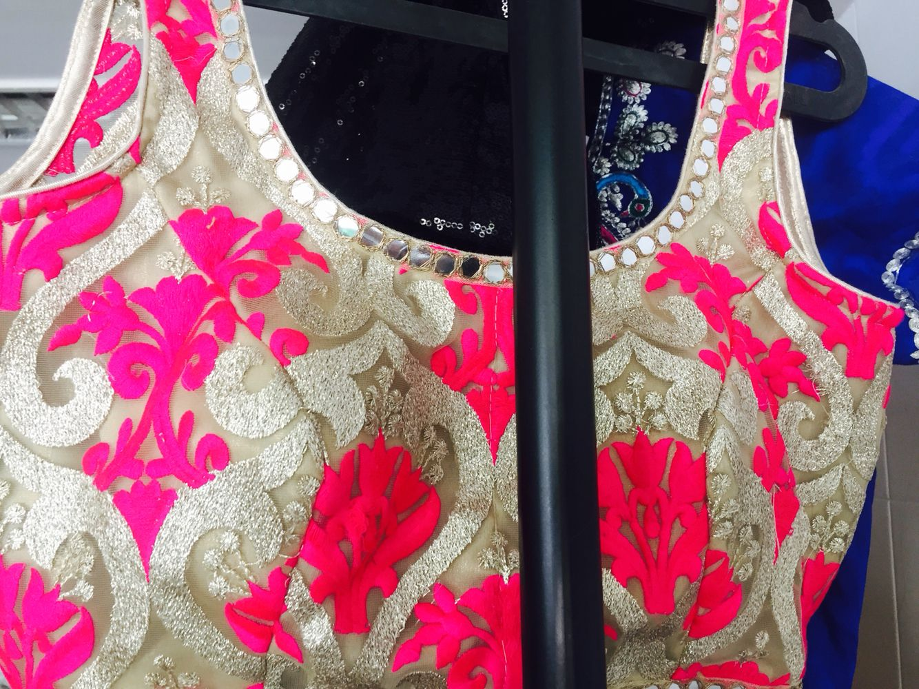 Pink blouse with mirror work | Creations | Pinterest | Pink, Pink ...
