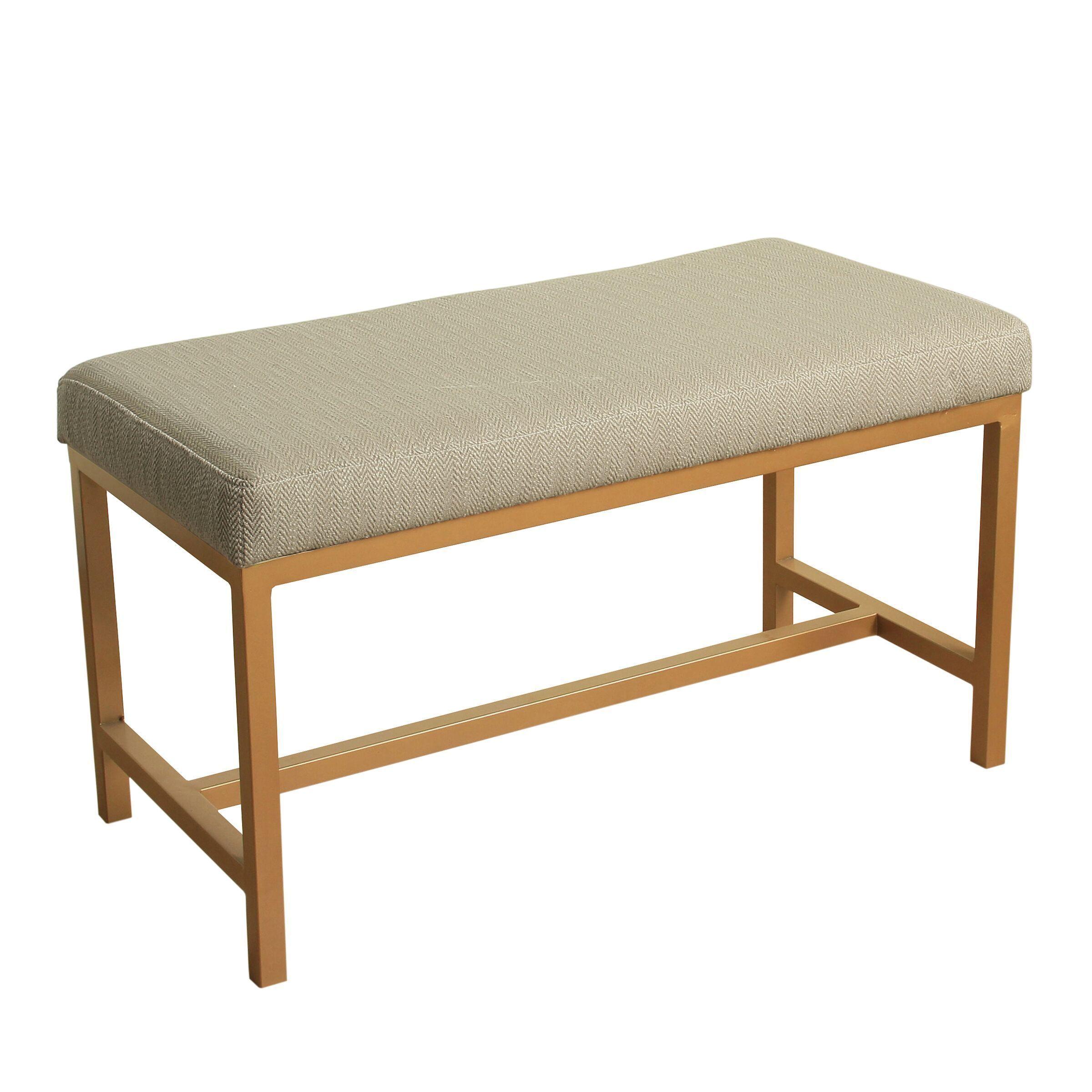 Homepop Long Rectangular Bench With White Herringbone Fabric And