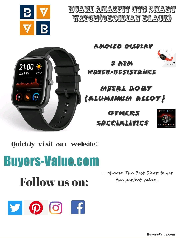 Huami Amazfit Gts Smart Watch Obsidian Black Smart Watch Latest Smartwatch Best Smart Watches