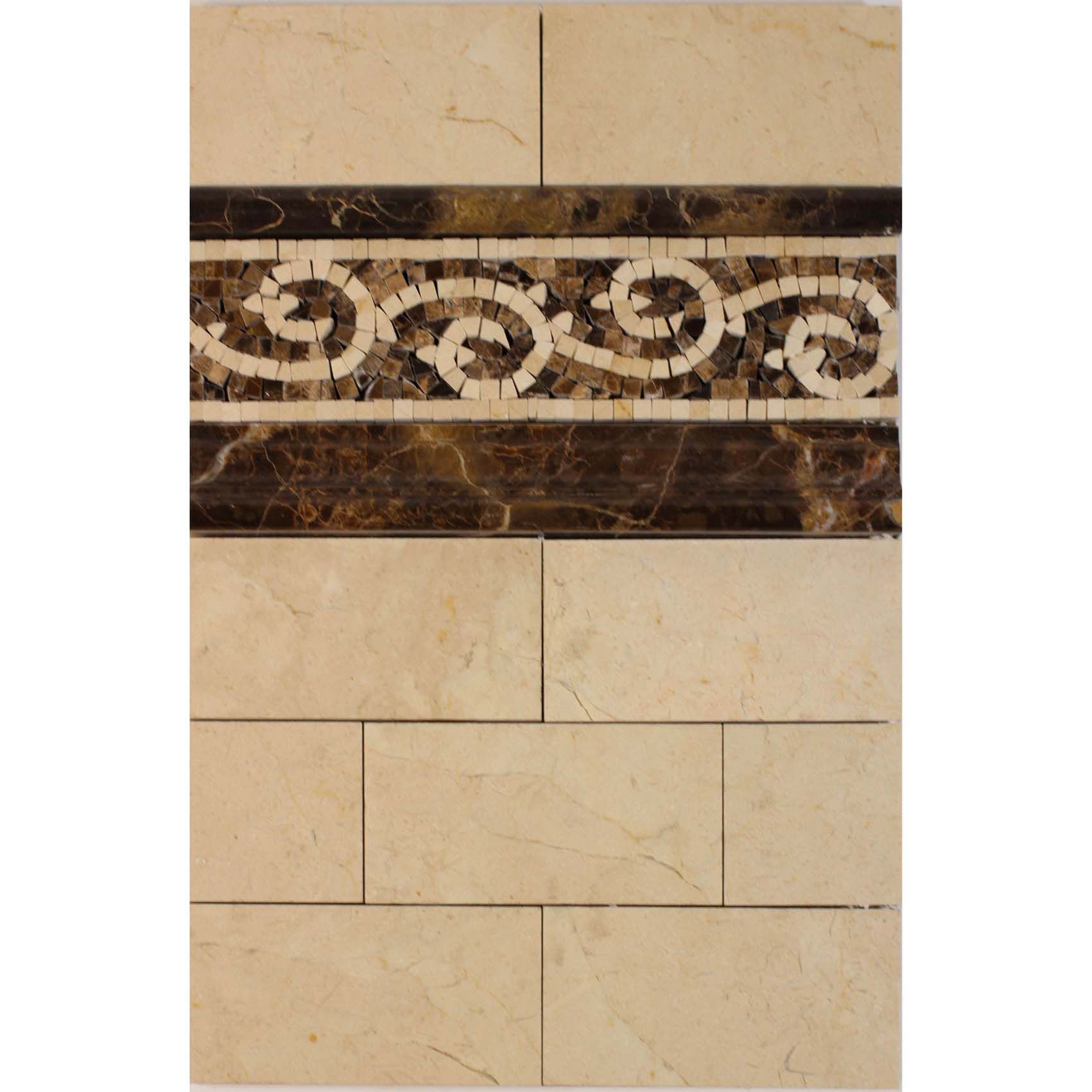 Crema Marfil Marble With Emperador Dark Marble As The Accent The Traditional And Timeless Look Tile Floor Master Bath Tiles