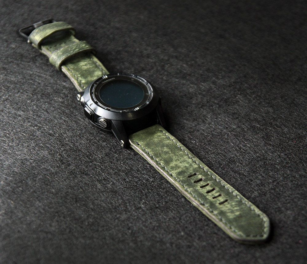 26mm Distressed Dark Green Leather Watch Strap 24mm Soft With Buckle Aged Top Grain