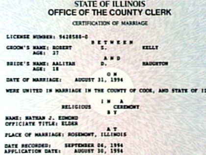 R Kelly and Aaliyah Marriage Certificate Girls, Pearls, and - copy certificate picture