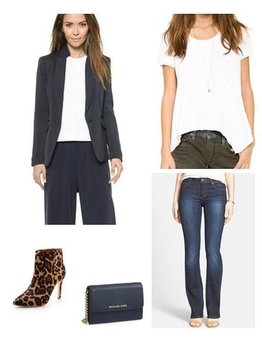 A tailored blazer with relaxed tee and fun booties is perfect for 'jeans day' at the office.