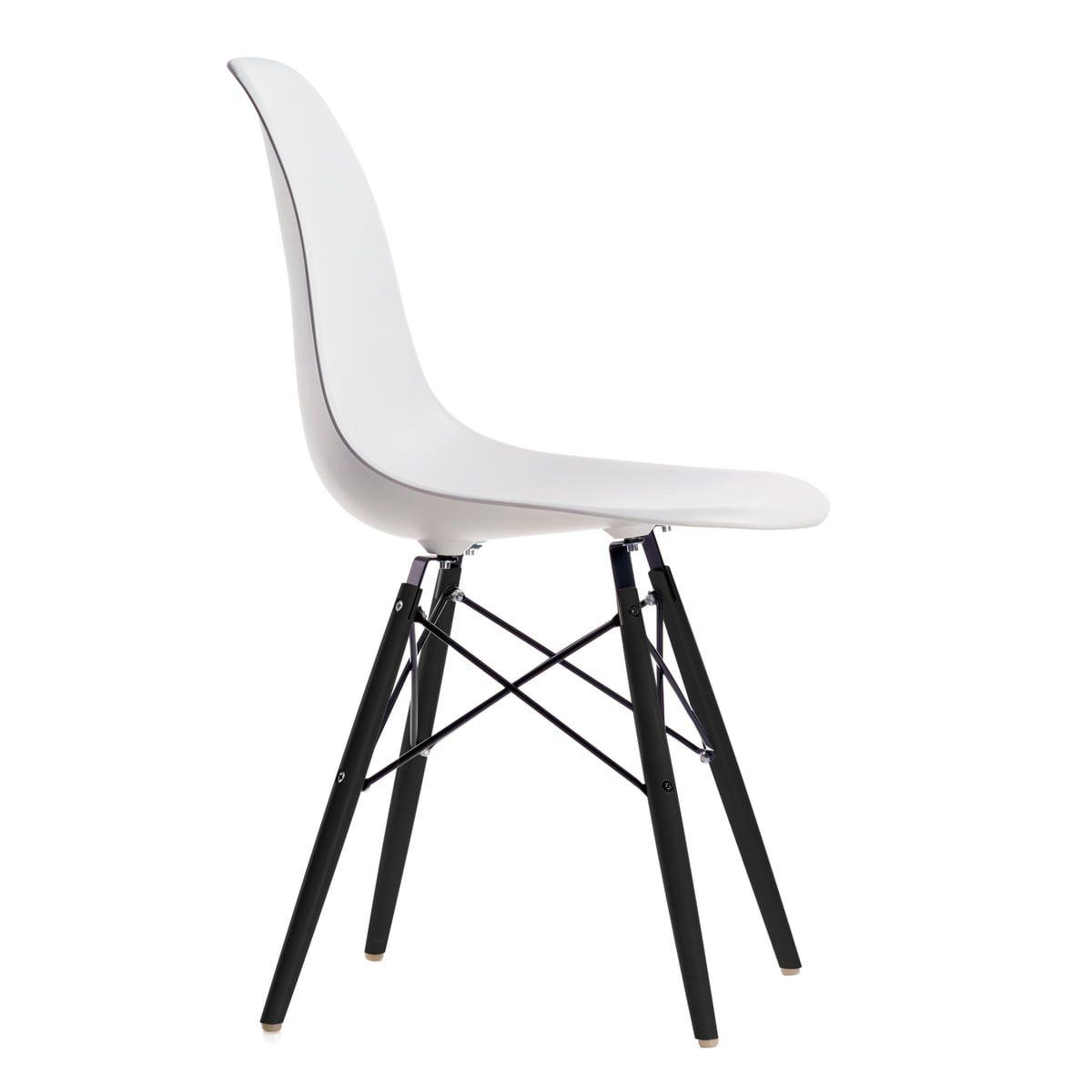 Vitra Eames Plastic Side Chair DSW, Ahorn schwarz / weiß