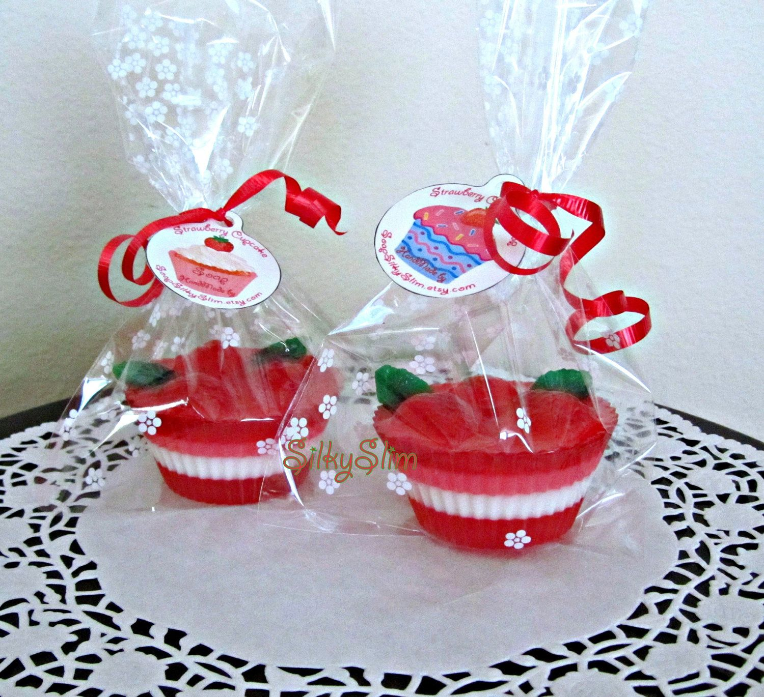 Handmade Yummy Strawberry cupcake Fun Gift Sweets Scented Soap. $3.99, via Etsy.