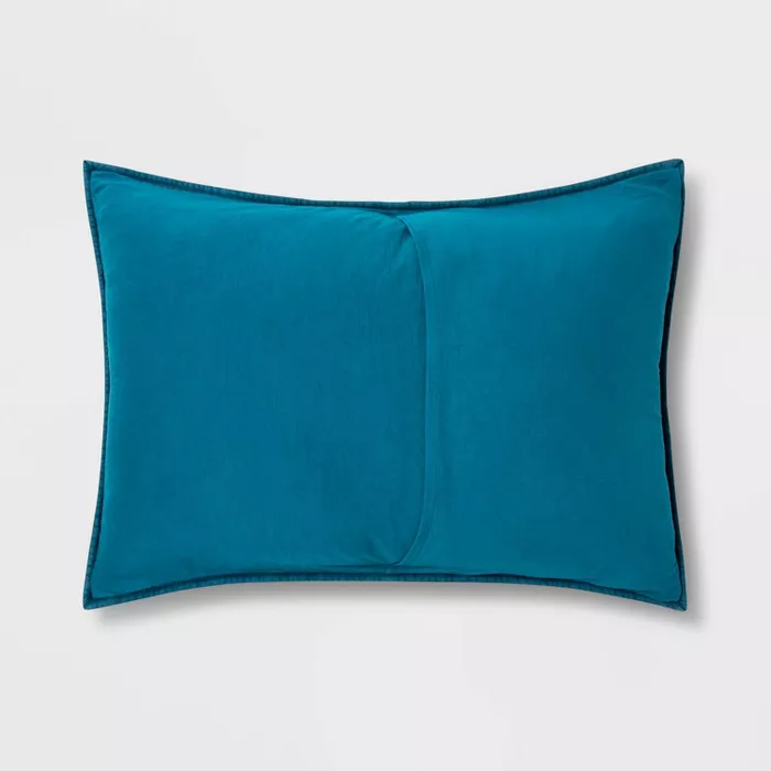 Vintage Wash Jersey Pillow Sham Terrific Turquoise - Pillowfort