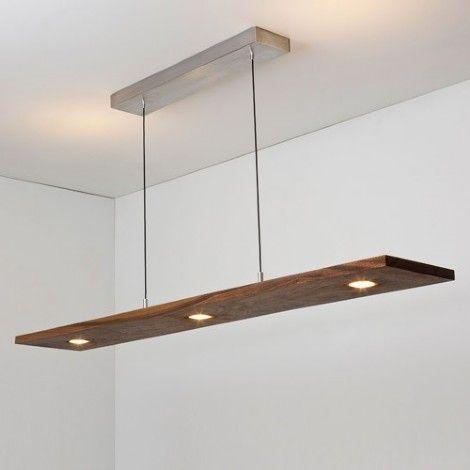Luminaire Suspendu Rectangle Argent Brosse Et Bois Noyer Luminaire Moderne Eclairage Moderne Luminaire Suspendu