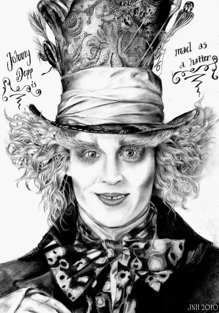 Alice in Wonderland Mad Hatter Hat Drawing | Johnny Depp