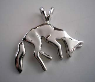 Fox Pendant Necklace in Sterling Silver