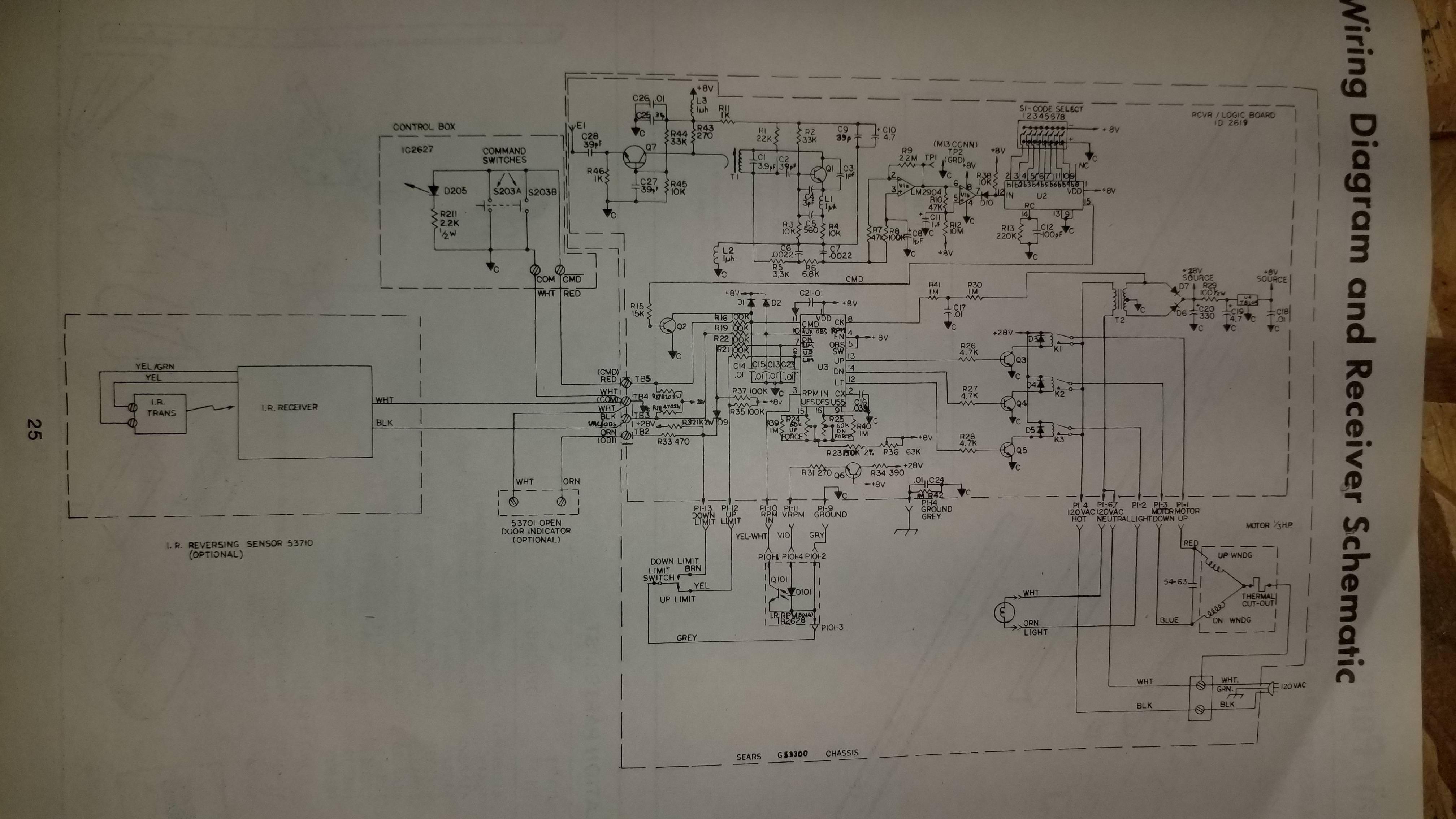 My old Sears / Craftsman garage door opener manual includes wiring ...