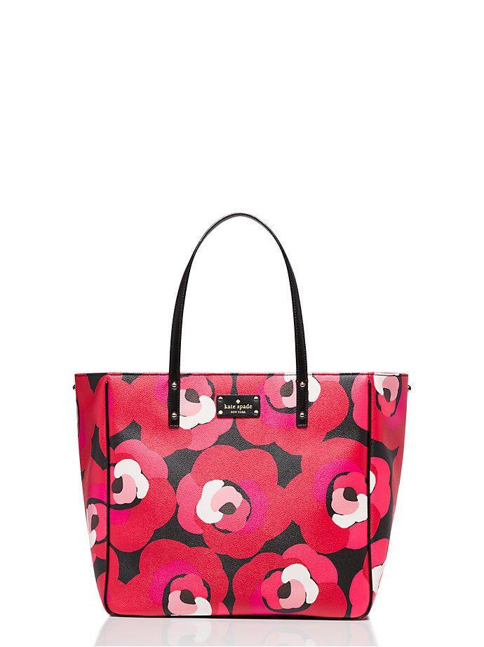 Kate Spade Sidney Large Shoulder Tote Bag Red Pink Black Rose