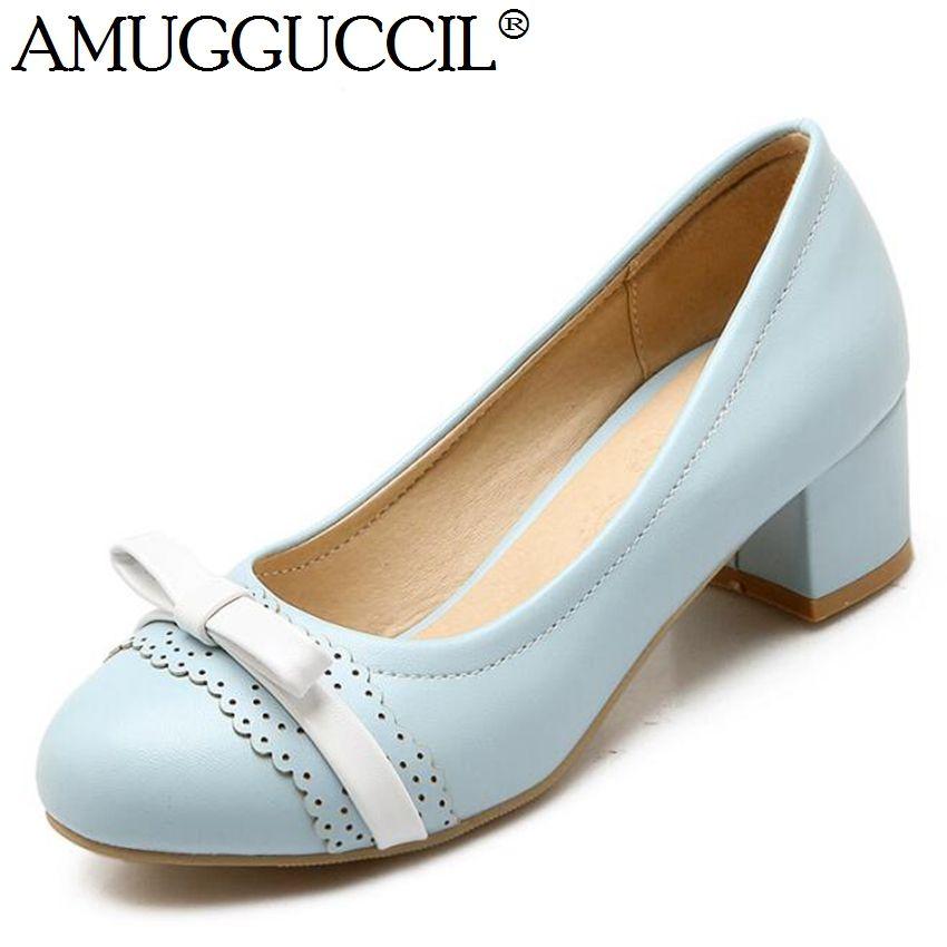 6c6ca6e308e 2017 New Plus Big Size 32-43 Beige Blue Pink Bowtie Sweet Fashion Mid Heel  Girls Females Lady Womens Shoes Pumps D1063