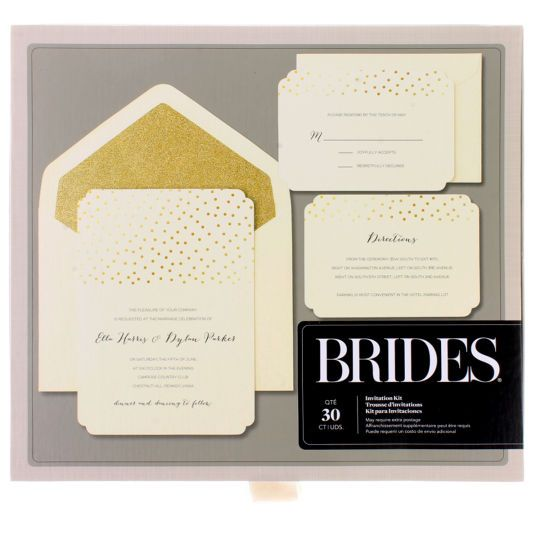 brides® gold glitter & foil dot invitation kitbrides gold glitter, Wedding invitations