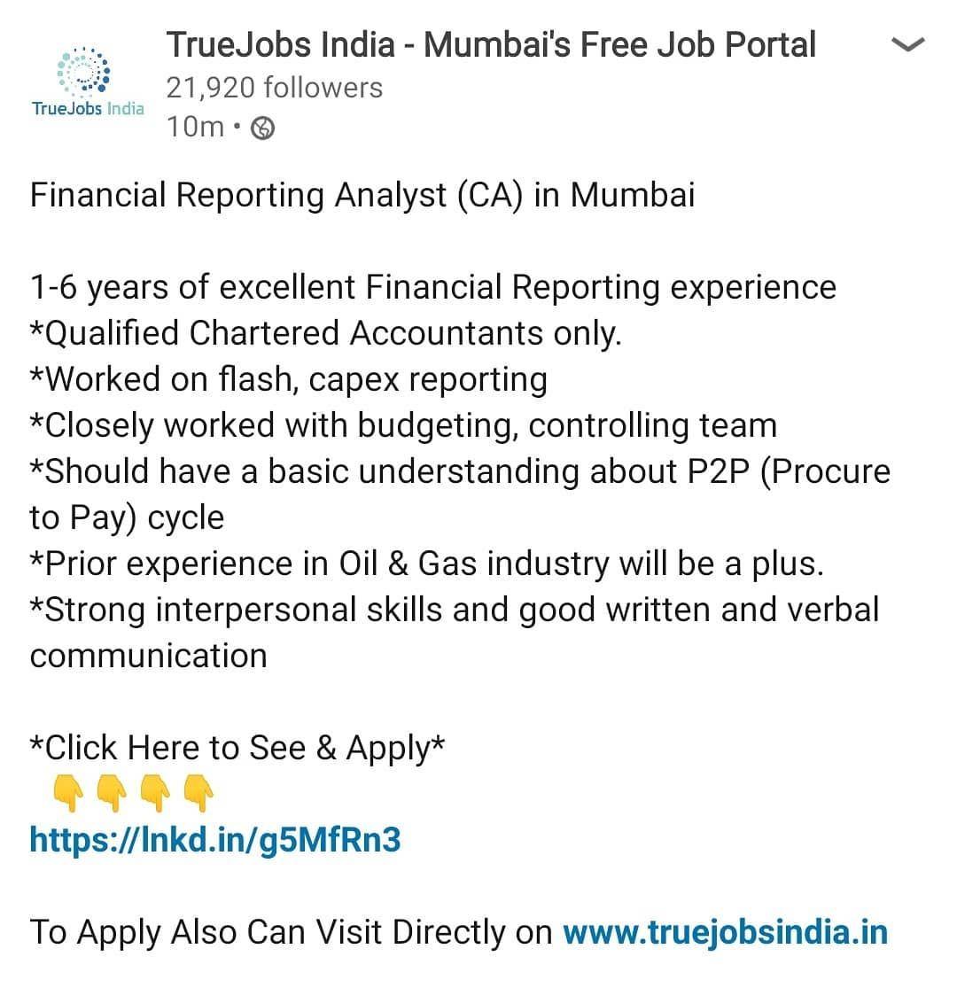 Financial Reporting Analyst in Mumbai financialanalyst