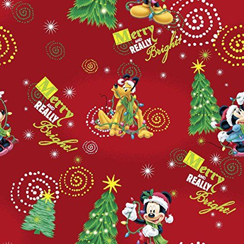 disney christmas mickey merry and really bright fabric 4344 width red - Disney Christmas Fabric