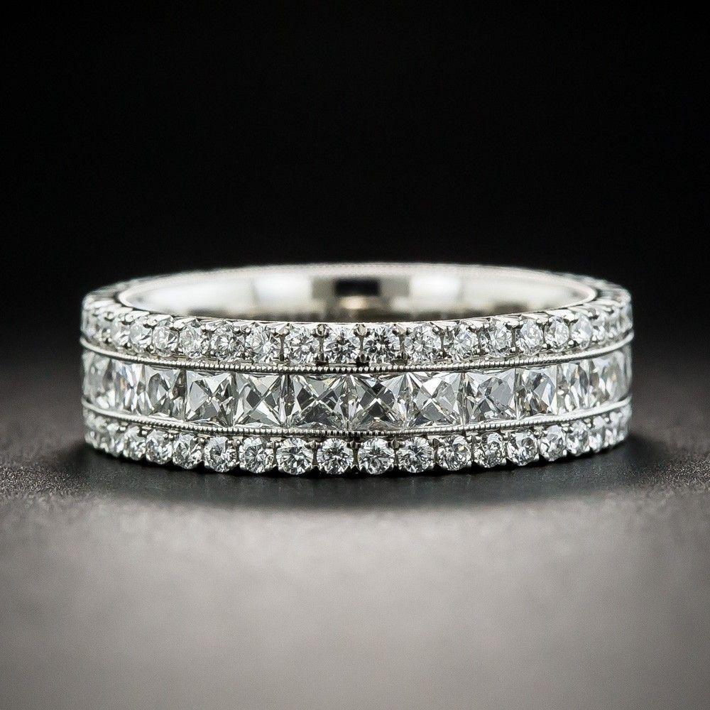 ffa10fc3402ac Platinum French-Cut Diamond Band - Estate & Vintage Wedding Bands ...