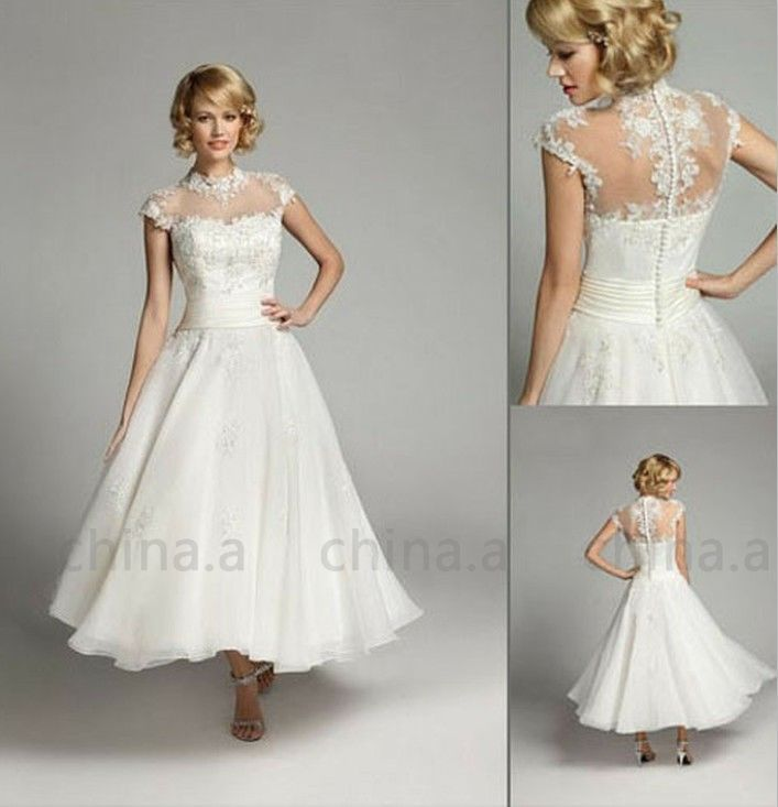 New Custom High Neck 1950\'s Vintage Short White/Ivory Lace Wedding ...