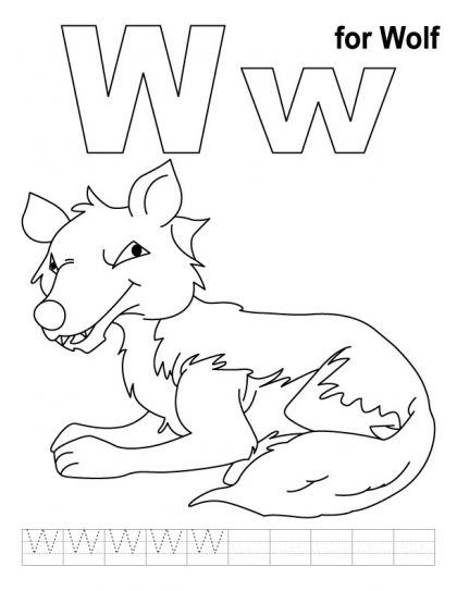 Coloring Pages W For Wolf Coloring Page With Handwriting Practice Alphabet Coloring Pages Coloring Pages Letter A Coloring Pages