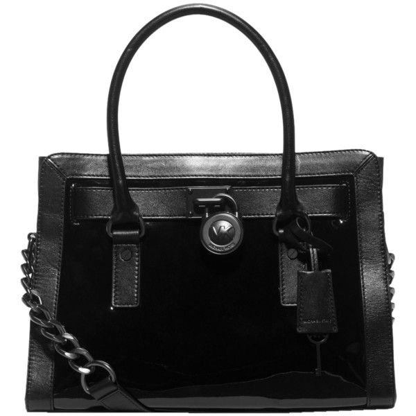 Pre Owned Michael Kors Hamilton Patent Leather Black Satchel 355 Aud Liked On Polyvore Featuring Bags Handbags