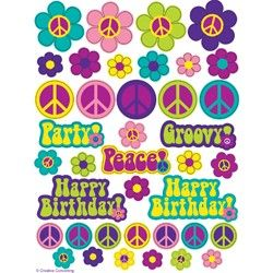Groovy Party Stickers (4 Sheets) | $2.35 | http://www.discountpartysupplies.com/girl-party-supplies/hippie-party-supplies/groovy-party-stickers.html