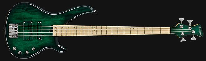 Mensinger Pike 4a - transparent gloss green burst on spalted maple top - 990€